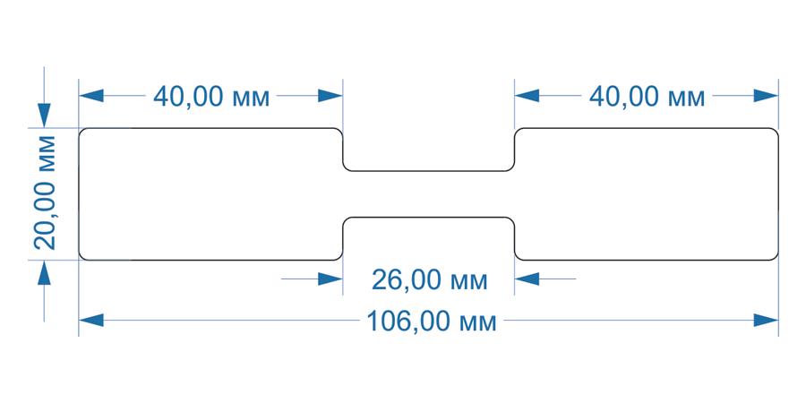 Схема и размеры складного флажка для маркировки провода 106х20 мм
