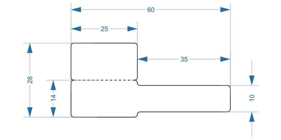 Схема и размеры складного флажка Р-образной формы для маркировки провода 28x60 мм